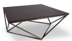 Casa Padrino Designer Couchtisch Dunkelbraun / Silber 100 x 100 x H. 38 cm - Luxus Wohnzimmertisch mit gebeizter Eichenfurnierplatte - Wohnzimmermöbel