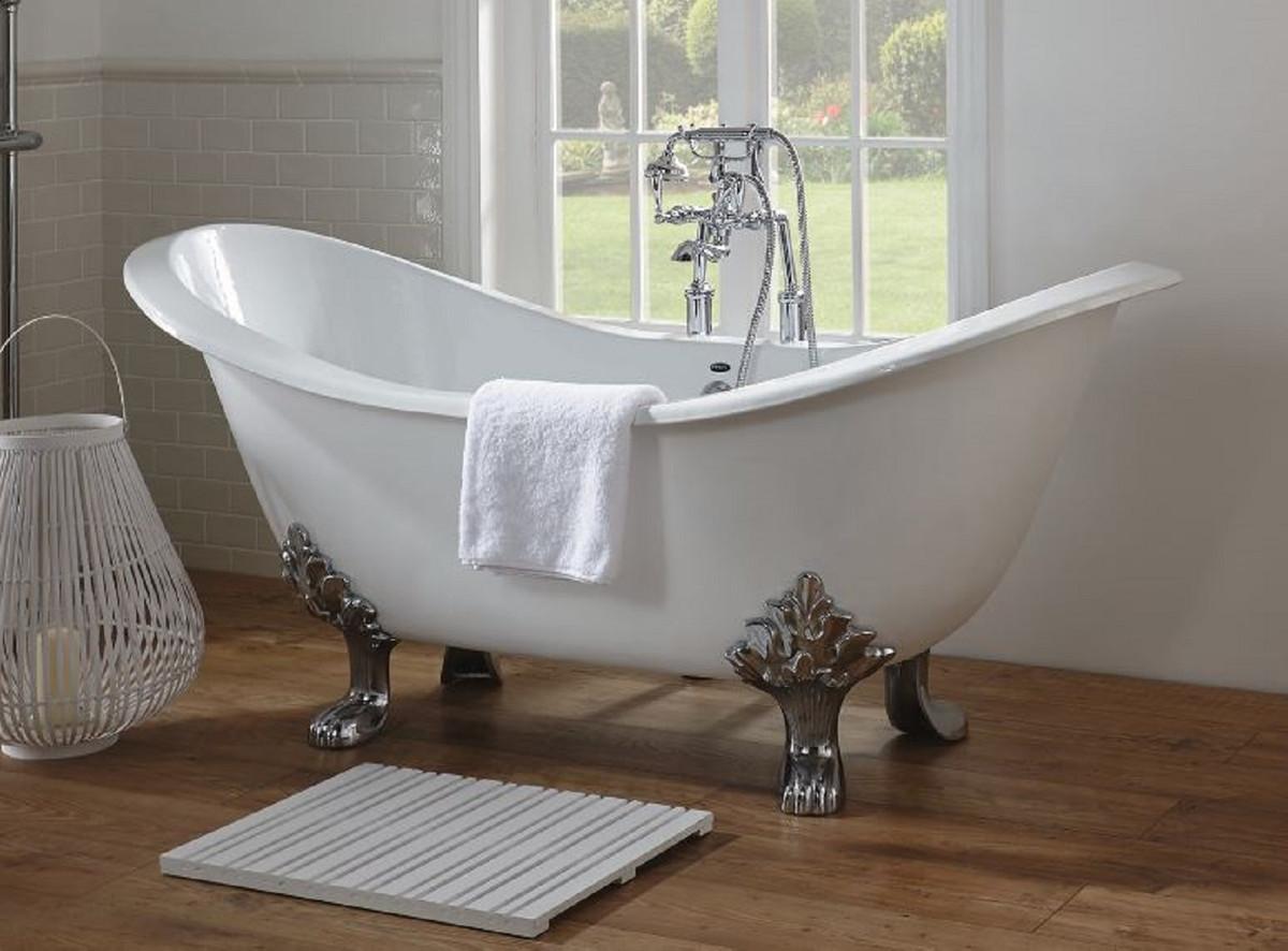 Casa Padrino Luxus Jugendstil Badewanne Weiß / Silber 180 x ...