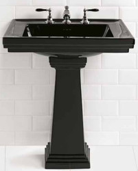 Casa Padrino Luxury Art Nouveau Washbasin Black 64 x 48.5 x H. 90 cm - Ceramic Washbasin with Pedestal - Luxury Quality