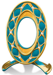 Casa Padrino Baroque Picture Frame Turquoise / Gold 26 x 16 x H. 36 cm - Magnificent Ceramic Picture Frame with Swarovski Crystal Glass