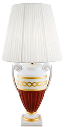 Casa Padrino Baroque Table Lamp White / Red / Gold Ø 40 x H. 75 cm - Living Room Ceramic Lamp in Baroque Style