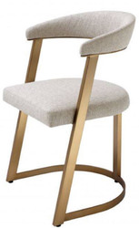 Casa Padrino designer chair with armrests natural / brass 53.5 x 49 x H. 78 cm - Dining Chair - Office Chair - Designer Furniture