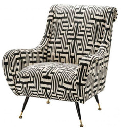 Casa Padrino luxury armchair black / white / brass 80 x 90 x H. 88 cm - Living Room Armchair - Living Room Furniture