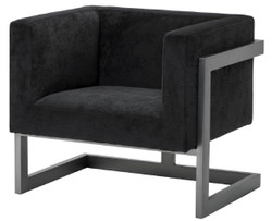 Casa Padrino Luxury Club Velvet Armchair Black / Bronze 86 x 70 x H. 74 cm - Luxury Quality
