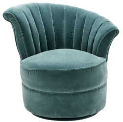 Casa Padrino Luxury Art Deco Swivel Armchair Right Dark Turquoise 81 x 68 x H. 72 cm - Living Room Armchair - Art Deco Living Room Furniture