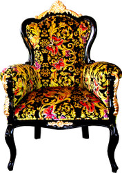 Pompöös by Casa Padrino Luxury Baroque Armchair Bergere Butterfly & Flower Design / Black / Gold - Pompöös Baroque armchair designed by Harald Glööckler