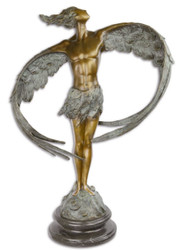 Casa Padrino luxury bronze sculpture man with wings bronze / gray / black 52 x 24.1 x H. 77.6 cm - Bronze Figure with Marble Base