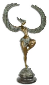 Casa Padrino Luxus Bronze Skulptur Frau mit Flügeln Bronze / Grau / Schwarz 49,7 x 23,8 x H. 90,4 cm - Bronzefigur mit Marmor Sockel – Bild