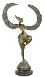 Casa Padrino luxury bronze sculpture woman with wings bronze / gray / black 49.7 x 23.8 x H. 90.4 cm - Bronze Figure with Marble Base