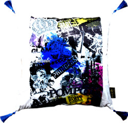 Harald Glööckler Designer Cushion Pompöös by Casa Padrino with rhinestones white - blue