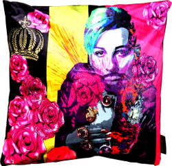 Harald Glööckler Designer Cushion Pompöös by Casa Padrino with rhinestones Pink Flowers - Art Collection -