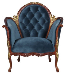 Casa Padrino Baroque Salon Velvet Armchair Blue / Brown / Brass 86.5 x 71 x H. 94 cm - Baroque Furniture