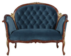 Casa Padrino Baroque Velvet Sofa Blue / Brown / Brass 125 x 73.5 x H. 92.5 cm - Furniture in Baroque Style