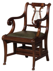 Casa Padrino Baroque Ladder Chair with Genuine Leather Dark Brown / Green 61.3 x 59.1 x H. 87.8 cm - Mahogany Chair with Armrests - Baroque Furniture