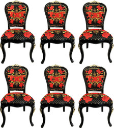 Pompöös by Casa Padrino Luxury Baroque Dining Chairs Roses Black / Red / Gold - Dining Set - 6 Pompöös Baroque Chairs designed by Harald Glööckler
