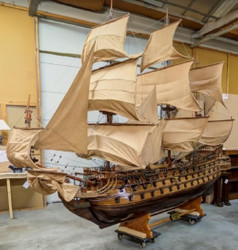 Casa Padrino Decoration Flagship San Felipe Brown / Multicolor 420 x 100 x H. 290 cm - Spanish Warship - Huge Handmade Model Ship