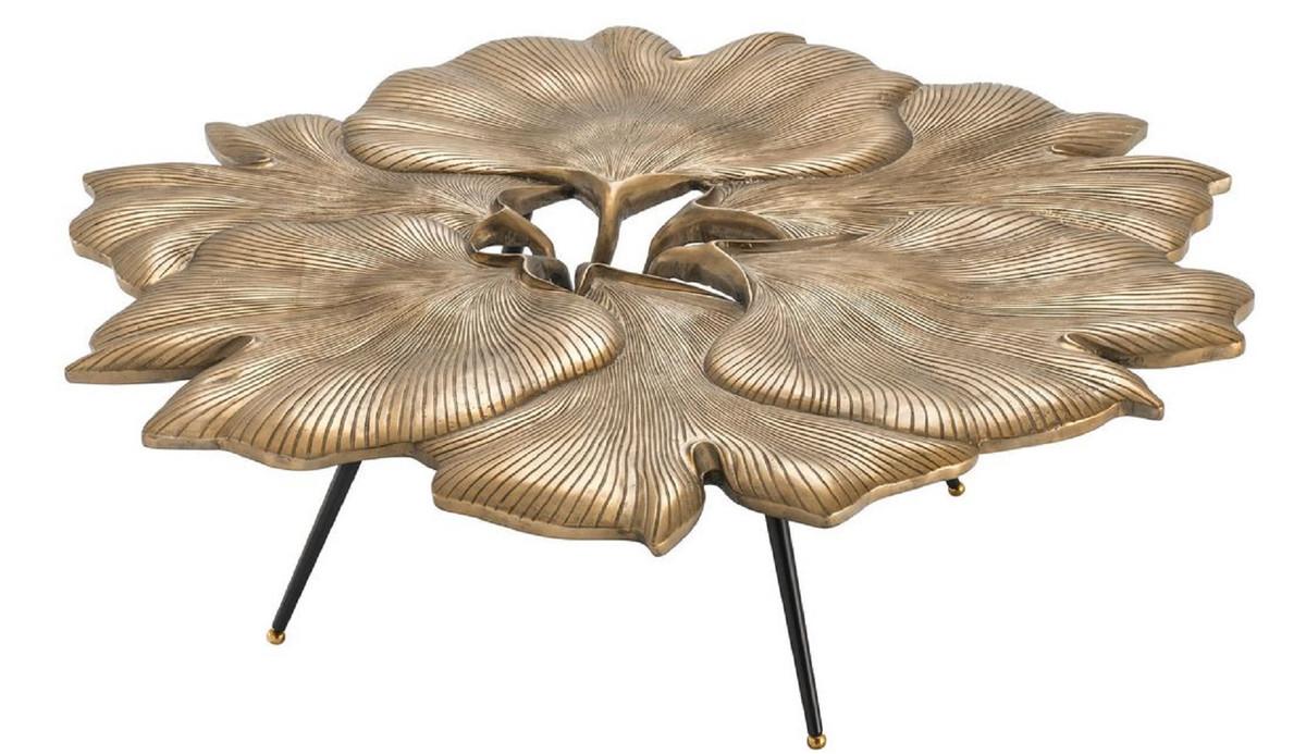 Casa Padrino Designer Couchtisch Vintage Messingfarben Schwarz Gold 98 X 92 X H 29 Cm Wohnzimmertisch Im Ginkgoblatter Design Luxus Qualitat
