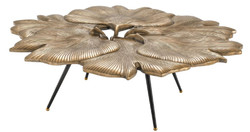 Casa Padrino designer coffee table vintage brass / black / gold 98 x 92 x H. 29 cm - Living Room Table in Ginkgo Leaf Design - Luxury Quality