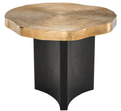 Casa Padrino luxury side table brass / black Ø 63.5 x H. 50.5 cm - Luxurious Side Table with Table Plate in Tree Slices Design