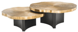 Casa Padrino Luxury Coffee Table Set Brass / Black - Luxurious Coffee Tables with Table Plates in Tree Slices Design