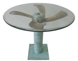 Casa Padrino Art Deco Side Table Mint Green / Brass Ø 61 x H. 52 cm - Round Airplane Propeller Table - Vintage Aviator Airplane Furniture