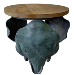 Casa Padrino designer side table bull skull gray / antique green / natural 46 x 40 x H. 53 cm - Living Room Furniture