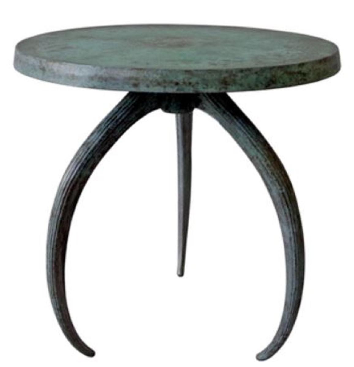 Casa Padrino Designer Beistelltisch Grau / Antik Grün Ø 48 x H. 54 cm - Runder Aluminium Tisch - Aluminium Möbel 1