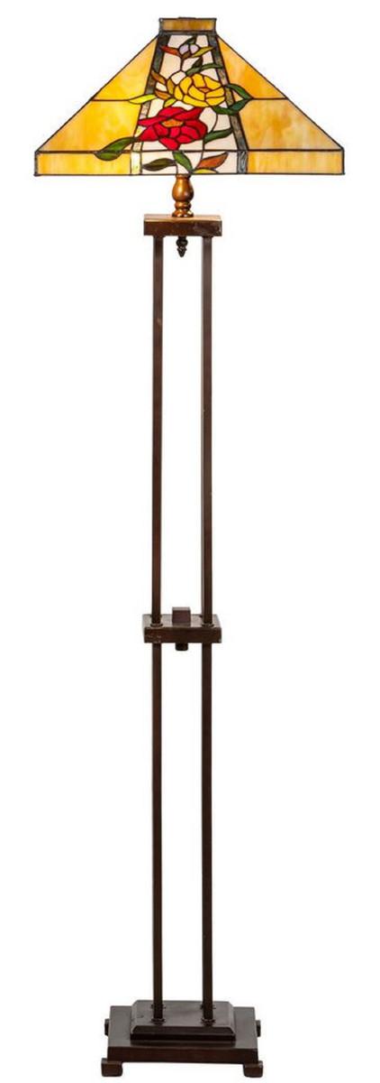 Casa Padrino Luxus Tiffany Stehleuchte Braun / Mehrfarbig 40 x 40 x H. 145 cm - Handgefertigt Tiffany Lampe aus 352 Teilen 1