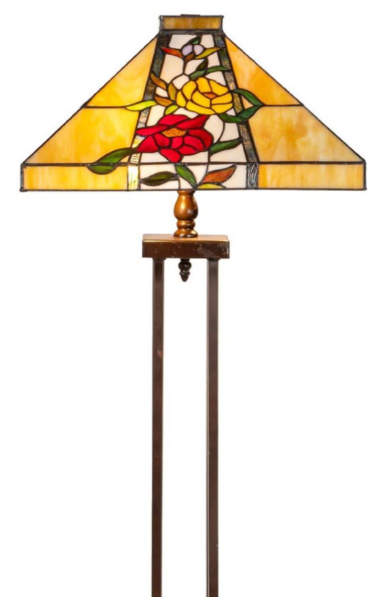 Casa Padrino Luxus Tiffany Stehleuchte Braun / Mehrfarbig 40 x 40 x H. 145 cm - Handgefertigt Tiffany Lampe aus 352 Teilen 2