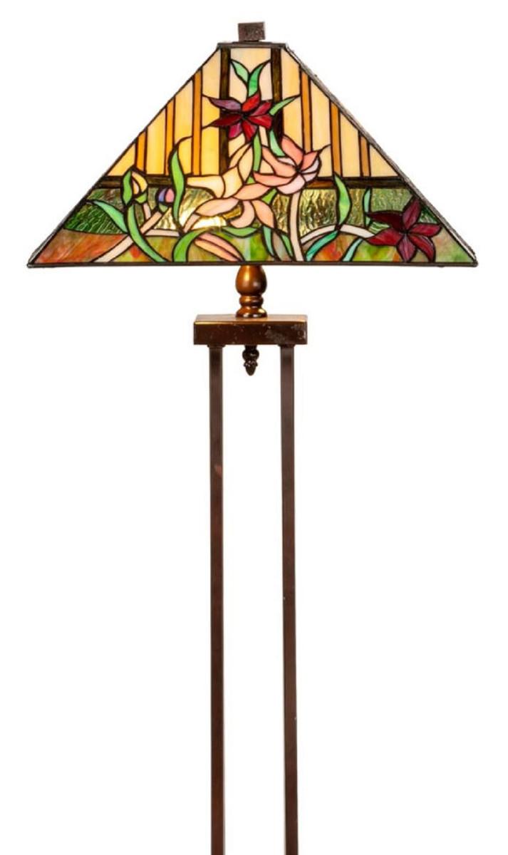 Casa Padrino Luxus Tiffany Stehleuchte Braun / Mehrfarbig 40 x 40 x H. 145 cm - Handgefertigt Tiffany Lampe aus 484 Teilen 2