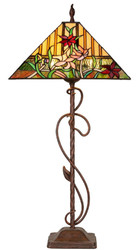 Casa Padrino Luxury Tiffany Table Lamp Brown / Multicolor 40 x 40 x H. 86 cm - Handmade Tiffany Lamp of 484 Pieces