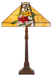Casa Padrino Luxury Tiffany Table Lamp Brown / Multicolor 40 x 40 x H. 62 cm - Tiffany Lamp with Flower Design