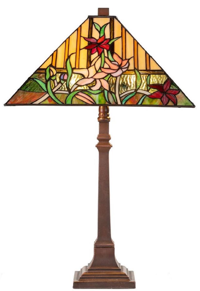 Casa Padrino Luxus Tiffany Tischleuchte mit Blumendesign Braun / Mehrfarbig 40 x 40 x H. 62 cm - Tiffany Lampe mit handgefertigtem Glas Lampenschirm 1