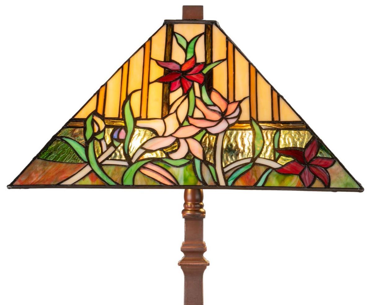 Casa Padrino Luxus Tiffany Tischleuchte mit Blumendesign Braun / Mehrfarbig 40 x 40 x H. 62 cm - Tiffany Lampe mit handgefertigtem Glas Lampenschirm 2