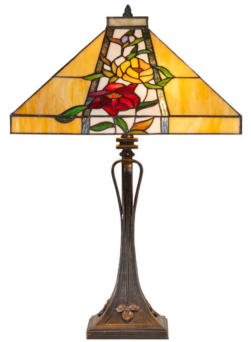 Casa Padrino Luxus Tiffany Tischleuchte Braun / Mehrfarbig 40 x 40 x H. 62 cm - Tiffany Lampe mit Blumendesign und handgefertigtem Glas Lampenschirm 1