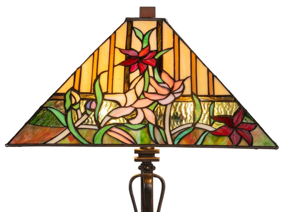 Casa Padrino Luxus Deko Tiffany Tischleuchte Braun / Mehrfarbig 40 x 40 x H. 62 cm - Tiffany Lampe mit Blumendesign und handgefertigtem Glas Lampenschirm 2