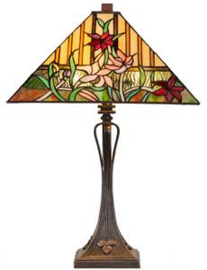 Casa Padrino Luxus Deko Tiffany Tischleuchte Braun / Mehrfarbig 40 x 40 x H. 62 cm - Tiffany Lampe mit Blumendesign und handgefertigtem Glas Lampenschirm