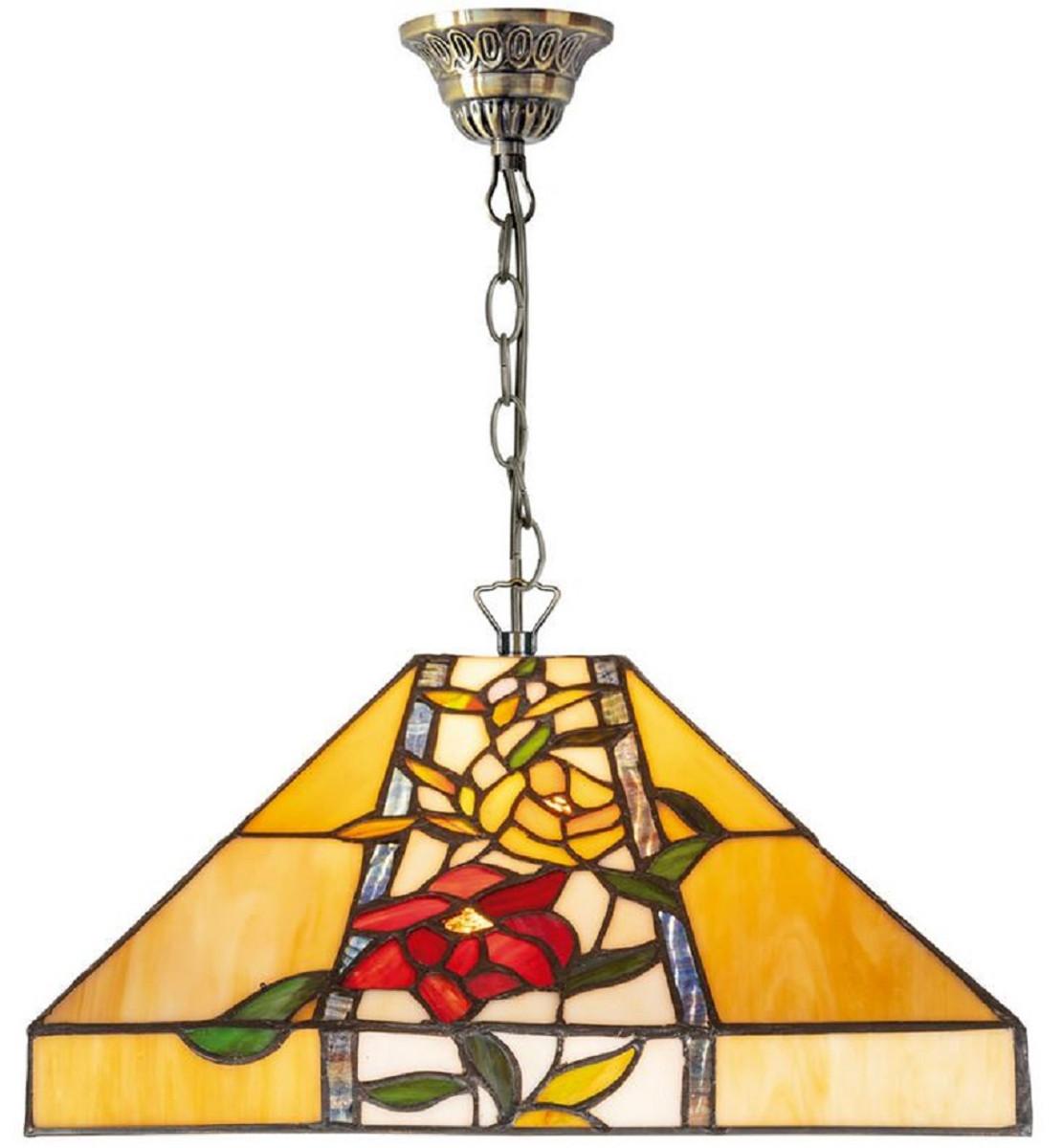 Casa Padrino Luxus Tiffany Hängeleuchte Mehrfarbig 40 x 40 x H. 95 cm - Tiffany Pendelleuchte mit Blumendesign und handgefertigtem Glas Lampenschirm 1