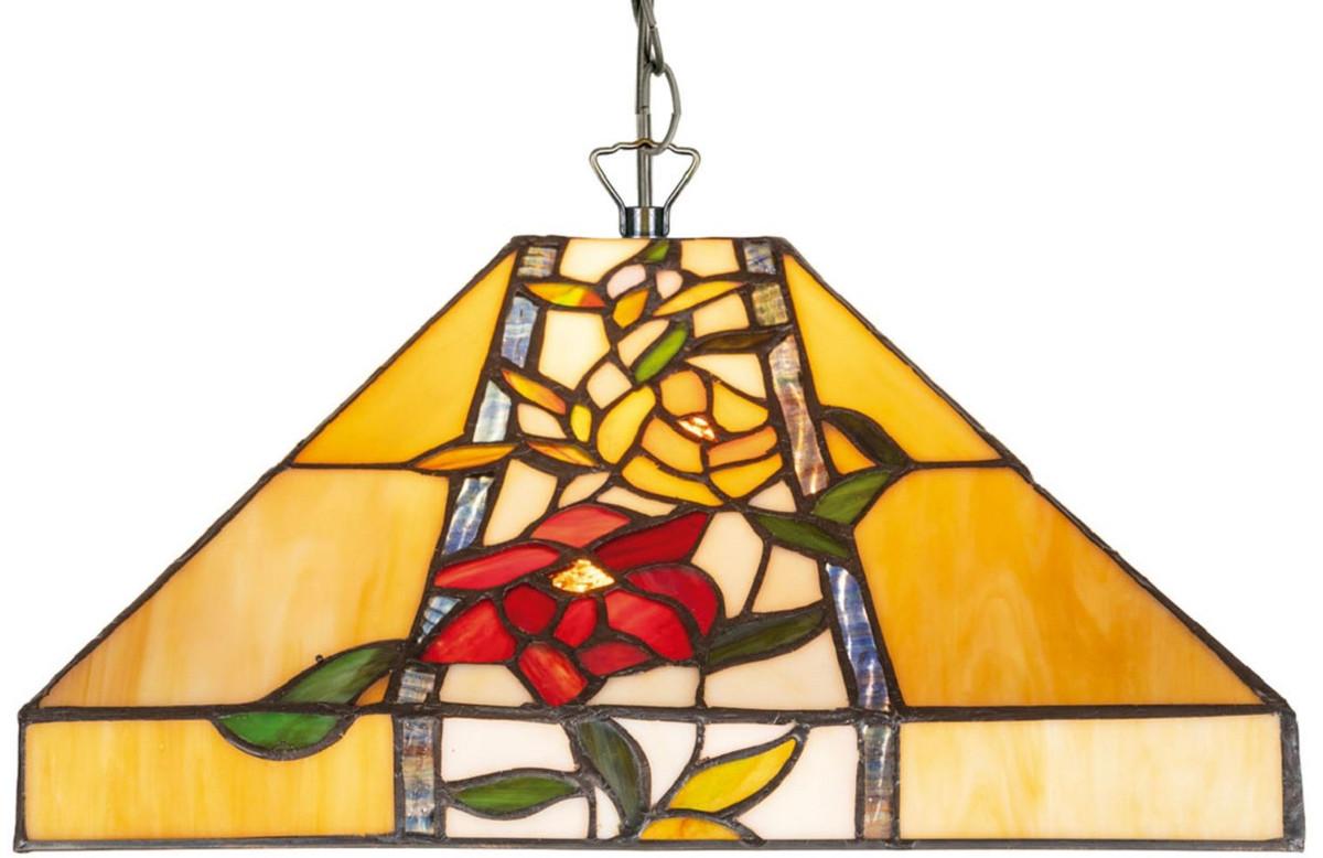 Casa Padrino Luxus Tiffany Hängeleuchte Mehrfarbig 40 x 40 x H. 95 cm - Tiffany Pendelleuchte mit Blumendesign und handgefertigtem Glas Lampenschirm 2