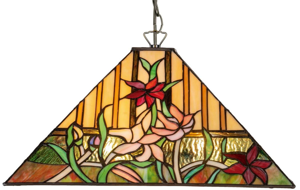 Casa Padrino Luxus Tiffany Hängeleuchte Mehrfarbig 40 x 40 x H. 95 cm - Tiffany Pendelleuchte mit handgefertigtem Glas Lampenschirm 2