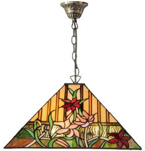 Casa Padrino Luxus Tiffany Hängeleuchte Mehrfarbig 40 x 40 x H. 95 cm - Tiffany Pendelleuchte mit handgefertigtem Glas Lampenschirm