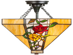 Casa Padrino Luxury Tiffany Ceiling Lamp Multicolor 40 x 40 x H. 34 cm - Tiffany Lamp with Flower Design and Handmade Glass Lampshade