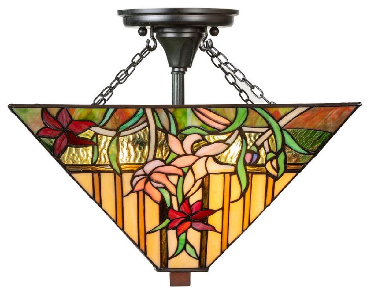 Casa Padrino Luxus Tiffany Deckenleuchte Mehrfarbig 40 x 40 x H. 34 cm - Tiffany Lampe mit handgefertigtem Glas Lampenschirm 1