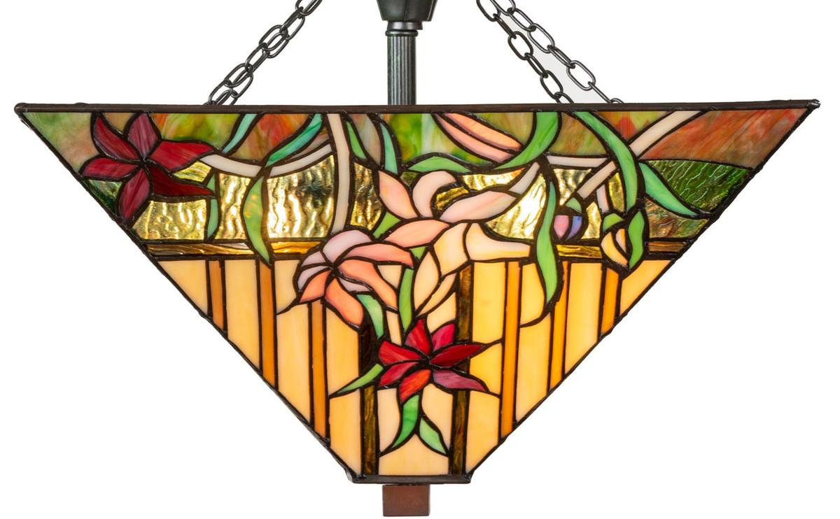 Casa Padrino Luxus Tiffany Deckenleuchte Mehrfarbig 40 x 40 x H. 34 cm - Tiffany Lampe mit handgefertigtem Glas Lampenschirm 2