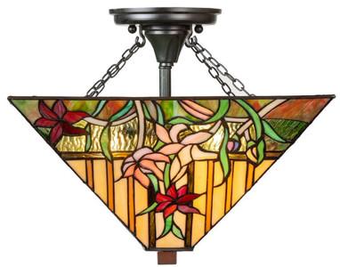 Casa Padrino Luxus Tiffany Deckenleuchte Mehrfarbig 40 x 40 x H. 34 cm - Tiffany Lampe mit handgefertigtem Glas Lampenschirm
