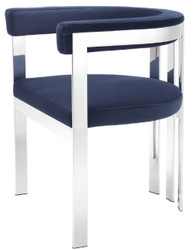 Casa Padrino luxury dining chair with armrests midnight blue / silver 61 x 56 x H. 73 cm - Stainless Steel Kitchen Chair with Fine Velvet Fabric - Luxury Kitchen Furniture
