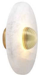 Casa Padrino Luxury LED Wall Lamp Alabaster / Bright Brass 28 x 12.5 x H. 28 cm - Round Designer Lamp - Luxury Collection