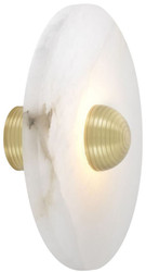 Casa Padrino Luxury LED Wall Lamp Alabaster / Bright Brass 35 x 16.5 x H. 35 cm - Round Designer Lamp - Luxury Collection