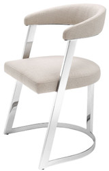 Casa Padrino designer chair with armrests natural / silver 53.5 x 49 x H. 78 cm - Dining Chair - Office Chair - Designer Furniture