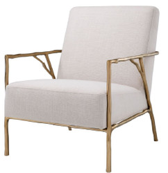 Casa Padrino luxury armchair natural / gold 63 x 81 x H. 82 cm - Living Room Armchair - Luxury Furniture